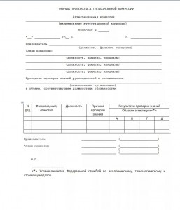 Образец протокола заседания аттестационной комиссии территориального управления Ростехнадзора