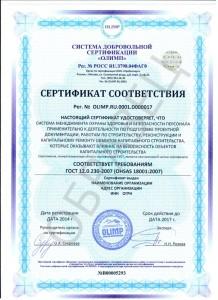 Образец сертификата ГОСТ 12.0.230-2015 (OHSAS 18001:2007)