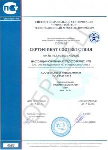 Образец сертификата ISO 22301:2012
