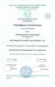 Образец сертификата ГОСТ Р 56020-2014