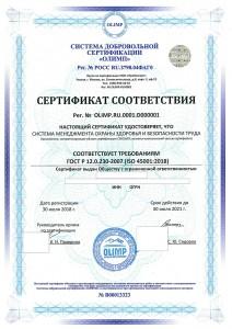 Образец сертификата ISO 45001