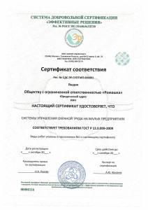 Сертификат ГОСТ 12.0.009